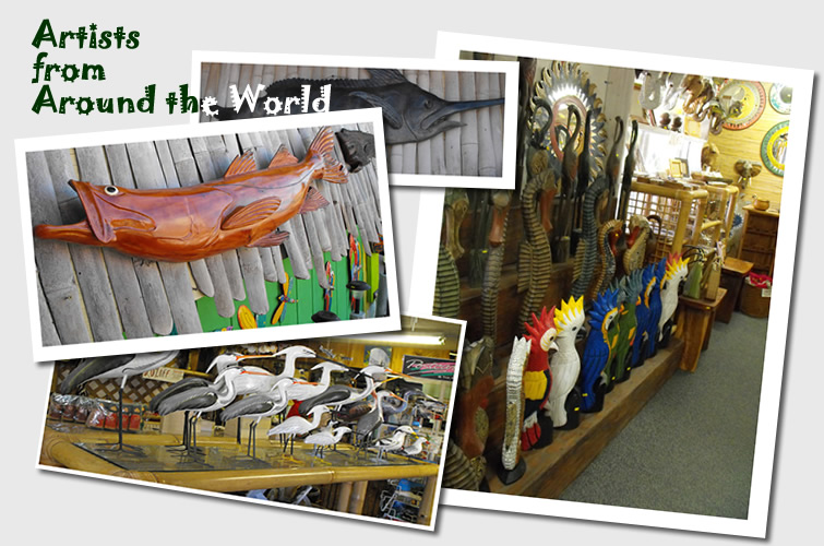 Wood carving from local Keys artists and all around the world.